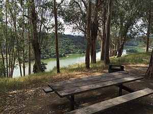 Anthony Chabot Regional Park - View of Lake Chabot from a campsite at Anthony Chabot Family Campground.