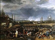 Pictură în ulei reprezentând asediul cetății din Anvers.  În centrul pânzei, cei doi fii mai mari ai regelui Louis-Philippe, ducele de Nemours în uniformă roșie și ducele de Orleans la dreapta lui în compania marșalului Gérard, ministrul războiului.