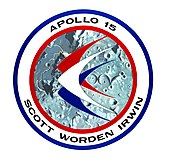 Logo of Apollo 15, with wings over the lunar surface