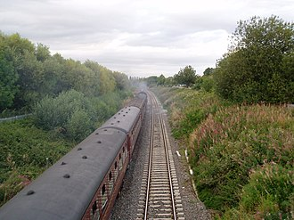 Welsh Marches line - Image: Approaching Harlescott Crossing