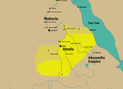A map showing the extent of Alodia in the 10th century