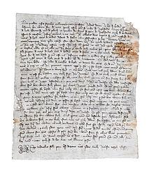 Atto di vendita, risalente al 1387, riguardante abitanti di Lizzola (dall'archivio Pietro Pensa)