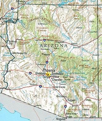 Geography of Arizona - A general map of Arizona.
