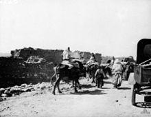 Menschen zu Fuß und auf Eseln gehen an Lehmhütten vorbei.