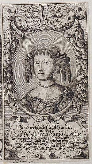 Dorothea Maria of Saxe-Weimar, Duchess of Saxe-Zeitz - Image: Arolsen Klebeband 02 003 7