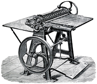 Business card - A Oscar Friedheim card cutting and scoring machine from 1889, capable of producing up to 100,000 visiting and business cards a day
