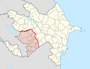 Nagorno-Karabakh line of contact - The Nagorno-Karabakh line of contact in red.