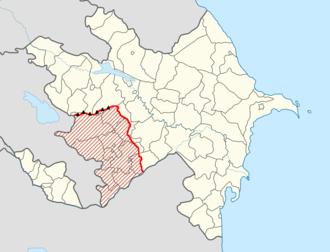 Nagorno-Karabakh line of contact - The Nagorno-Karabakh line of contact in red with the largely unguarded Murovdag (Mrav) mountain range in the north.