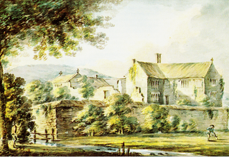 "Ash, Musbury - ""Ash, antient seat of the Drakes"", watercolour dated 13 February 1795 by Rev. John Swete (1752–1821) of Oxton House, Devon. Devon Record Office 564M/F7/129. It was then in use as a farmhouse. This is the house re-built  by Sir John Drake, 2nd Baronet (1647–1684) after its near destruction during the Civil War. The building at left is a chapel"
