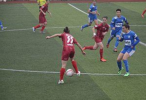 Ataşehir Belediyespor - Ataşehir Belediyespor (red) in attack at home match against Konak Belediyespor  (2013–14 season)