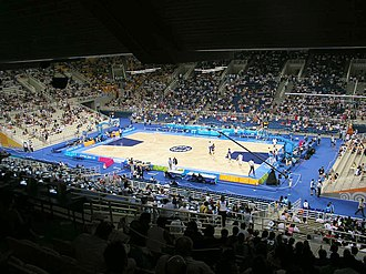 O.A.C.A. Olympic Indoor Hall - Inside view of the arena's main hall and basketball court.