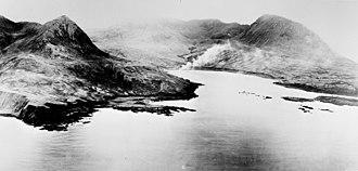 Japanese occupation of Attu - Chichagof Harbor under attack during the Allied liberation of Attu.