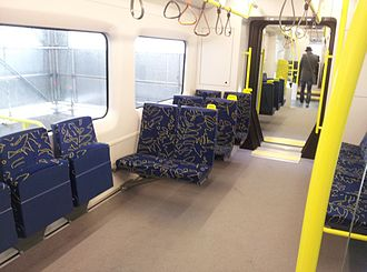 New Zealand AM class electric multiple unit - Interior of mock-up, Auckland waterfront, 12 June 2012.