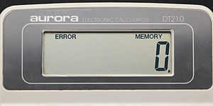 Error message - An error message on a calculator.