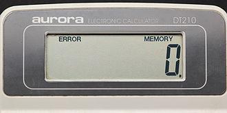 Error message - An error message on a calculator.