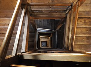 Cadolzburg - A view down the wooden staircase of the town's watchtower.