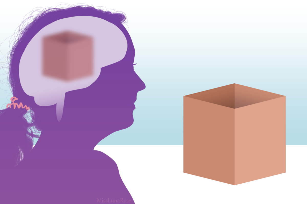 Drawing of a person looking at a box but perceiving it as blurry