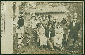 """The Outcasts (play) - Postcard - photo of a theatre crew that performed the play """"The Outcasts"""" in front of soldiers in 1918. Source: Bulgarian Archives State Agency."""