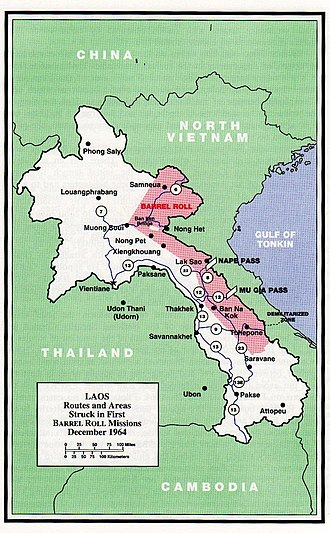 Laotian Civil War - Barrel Roll operational area, 1964