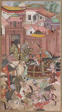 Babur and his army emerge from the Khwaja Didar Fort.jpg