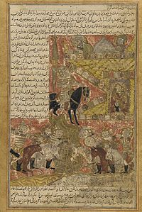 Balami - Tarikhnama - Babak parleys with the Afshin Haydar, the Caliph al-Mu'tasim's general.jpg