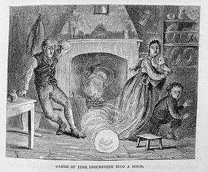 Ball lightning - Ball lightning entering via the chimney (1886)