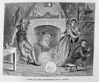 Ball lightning - Ball lightning entering via the chimney (1886)