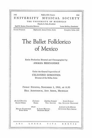 Ballet Folklórico de México - Concert program cover of performance of the ballet at the University of Michigan in 1963