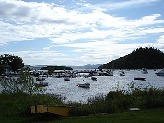 Balmaha - The harbor and Macfarlane and Son Boatyard on Loch Lomond at Balmaha