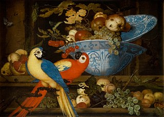 Fruit Still Life with Two Parrots