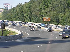 Baltimore–Washington Parkway - The Baltimore–Washington Parkway south of the exit for MD 450 in Bladensburg and Landover Hills