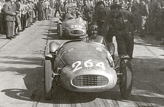 Bandini 750 sport siluro - Two siluros at the start of an uphill in Italy