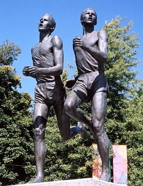 Statue in Vancouver, British Columbia of John Landy of Australia and Roger Bannister of England.