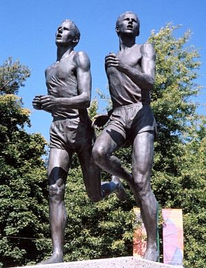 "1954 British Empire and Commonwealth Games - Statue in Vancouver commemorating the ""Miracle Mile"" between Roger Bannister and John Landy"