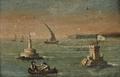 Barra do Tejo, barcos perto de Torre de Belém, Bugio e São Julião da Barra (escola portuguesa, século XIX).png