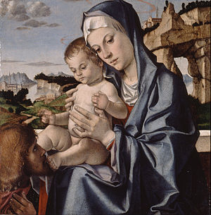 Bartolomeo Montagna - The Virgin and Child with a Saint (c. 1483) - Showing Montagna's signature positioning of the Virgin's Hand