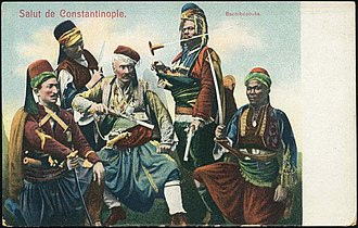 Irregular military - A group of bashi-bazouks, Ottoman postcard