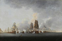 Two lines of sail warships sailing away from the viewer, firing broadsides at one another; in the center middle ground receding to the right background are the British in orderly line of battle; in the left-center middle ground receding into the left background are the French in orderly line of battle; but in the center to center-left middle ground is a melee of mixed flagged ships all firing and in moving in several directions.