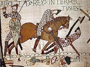 Detail from the so-called Bayeux Tapestry; c. 1070s.[42]
