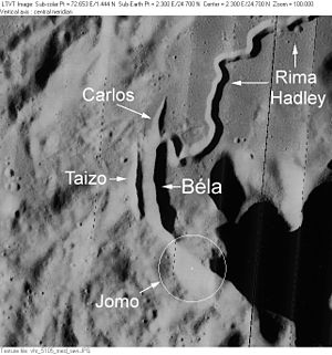 Mons Hadley - Selenographic features of Rima Hadley and its small craters