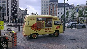 Mobile catering - A van selling waffles in Brussels, Belgium.