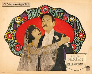 Bella Donna (1923 film) - Lobby card with Pola Negri and Adolphe Menjou