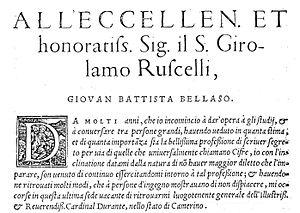 Giovan Battista Bellaso - La cifra del Sig. Giovan Battista Belaso ... Venetia 1553. Foreword.