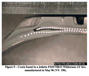 Firestone and Ford tire controversy - Cross section of a Firestone P235/75R15 Wilderness AT tire showing belt separation.