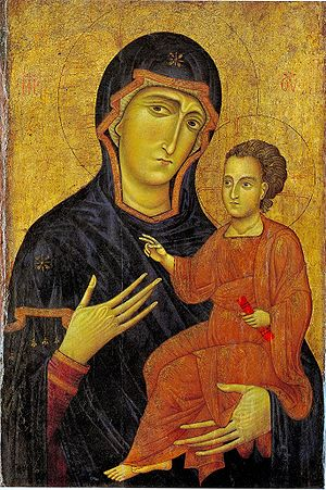 Berlinghiero Berlinghieri - Madonna and child, c. 1230, tempera on wood, now at the Metropolitan Museum of Art.