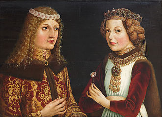 Ladislaus the Posthumous - Betrothal portrait of Ladislaus and Magdalena of France.