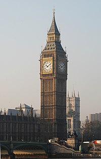 The Big Ben, London, view from across the Thames.