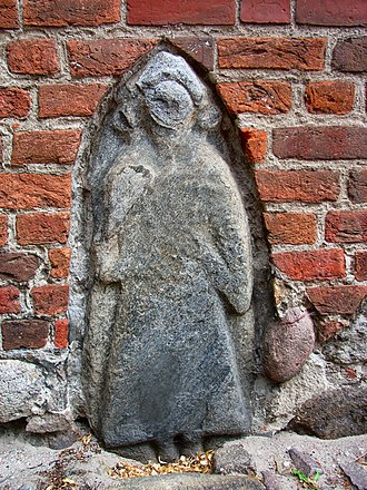 Principality of Rügen - Slavic stone embedded in St. Mary's walls, Bergen auf Rügen, probably the tombstone of Jaromar I