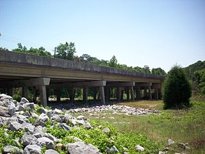 Bill Sketoe - Approximate site of the hanging of Bill Sketoe, beneath Alabama Highway 134 bridge, in Newton, Alabama