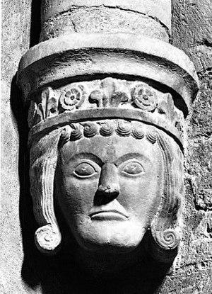 Varnhem Abbey - A corbel in the abbey church representing Duke Birger of Sweden (Birger jarl).